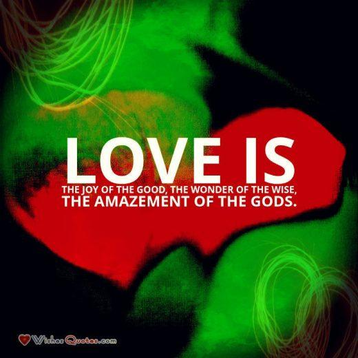 Love is the joy of the good, the wonder of the wise, the amazement of the Gods. - Plato. Love is the highest state. It is beyond comprehension, beyond goodness, beyond even our highest ideals. Love leaves us in awe of its wonders.
