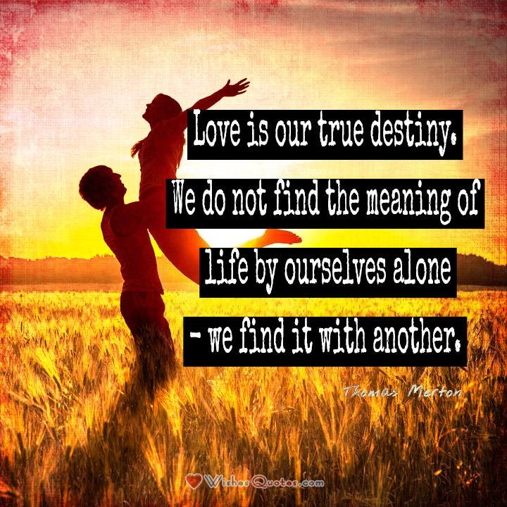 Love is our true destiny. Love Quotes