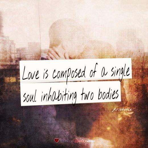 Love is composed of a single soul inhabiting two bodies. love quote