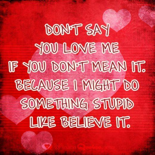Don't say you love me if you don't mean it. Because I might do something stupid like believe it.