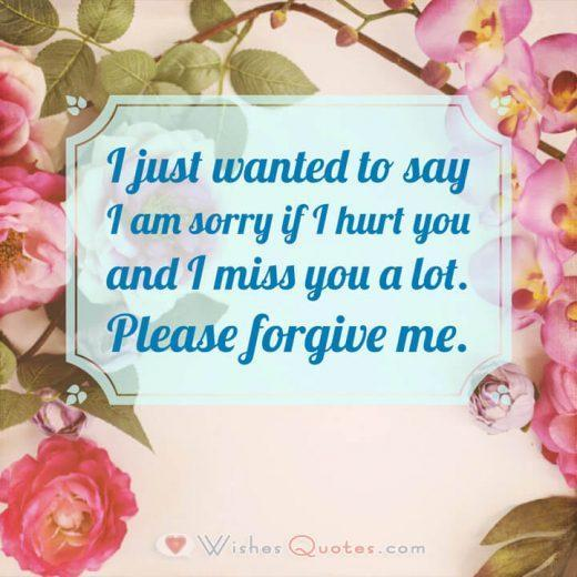 Sorry Messages for Husband: I just wanted to say I am sorry if I hurt you and I miss you a lot. Please forgive me.