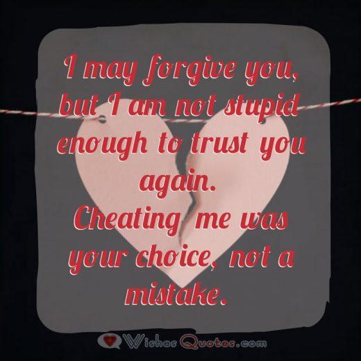 I may forgive you, but I am not stupid enough to trust you again. Cheating me was your choice, not a mistake.